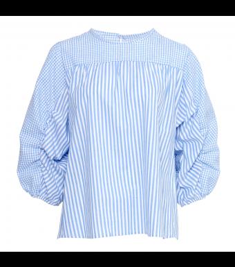 Tiffany Shik Mix Blouse Cotton Poplin, Light Blue Stripe/checked Mix