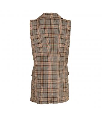 Noella, Forte Checked Waistcoat, Brown Checks