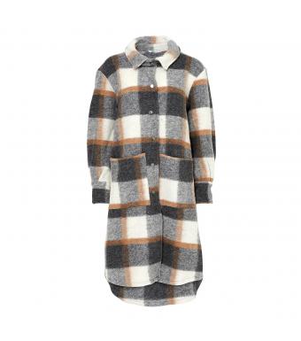 Noella Viksa Jacket Long Wool, Grey/camel Checks
