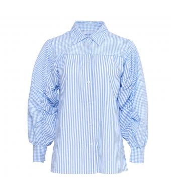 Tiffany Shik Mix Shirt Cotton Poplin, Light Blue Stripe/checked Mix