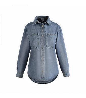 Noella Vance Pocket Shirt Denim, Blue Denim