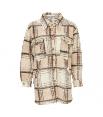 Tiffany Valley Short Coat Checked Wool, Beige/brown