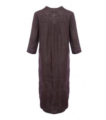 Tiffany 18970 Shirt Dress Linen, Dark Brown