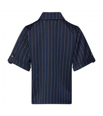 Tiffany Adele Shirt, Blue/brown Pinstripe