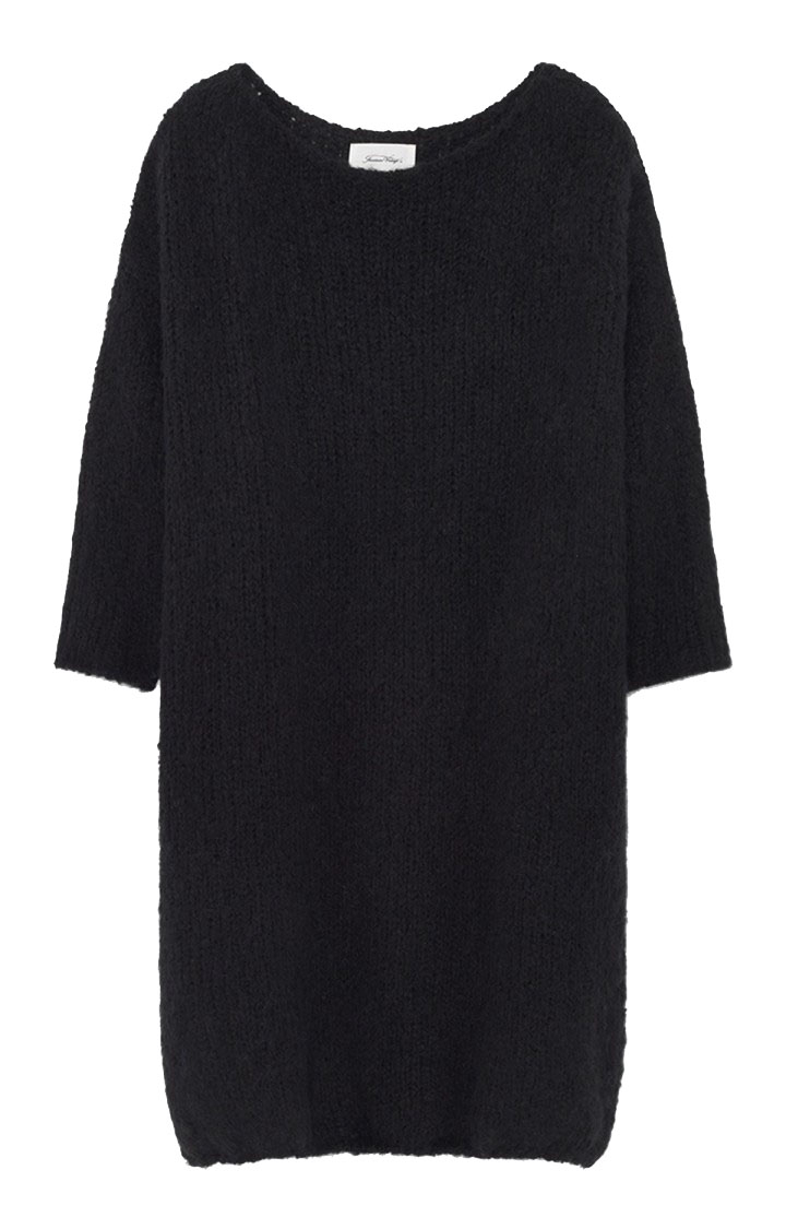 Image of American Vintage Boo271b Robe Manches 7/8 Col Bateau Onesize, Noir