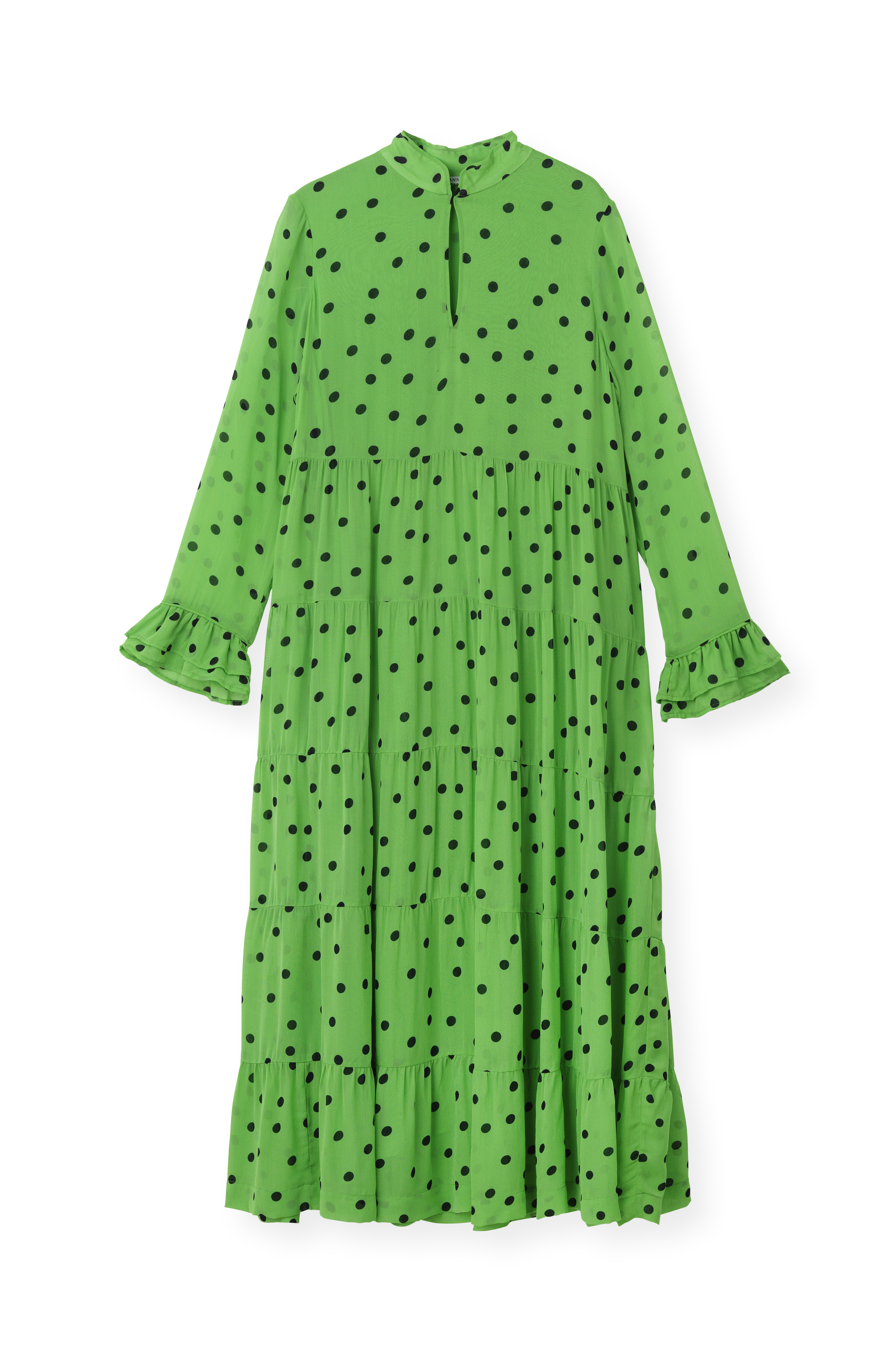 Ganni Ganni Dainty Georgette Maxi Dress, f2547 classic green
