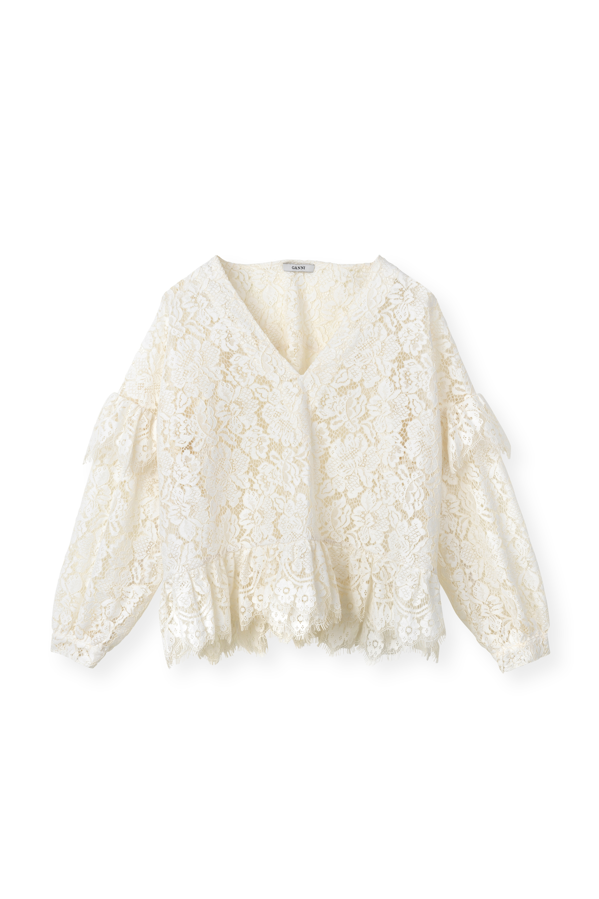 Image of   Ganni F2592 Blouse Jerome Lace, 135 Egret