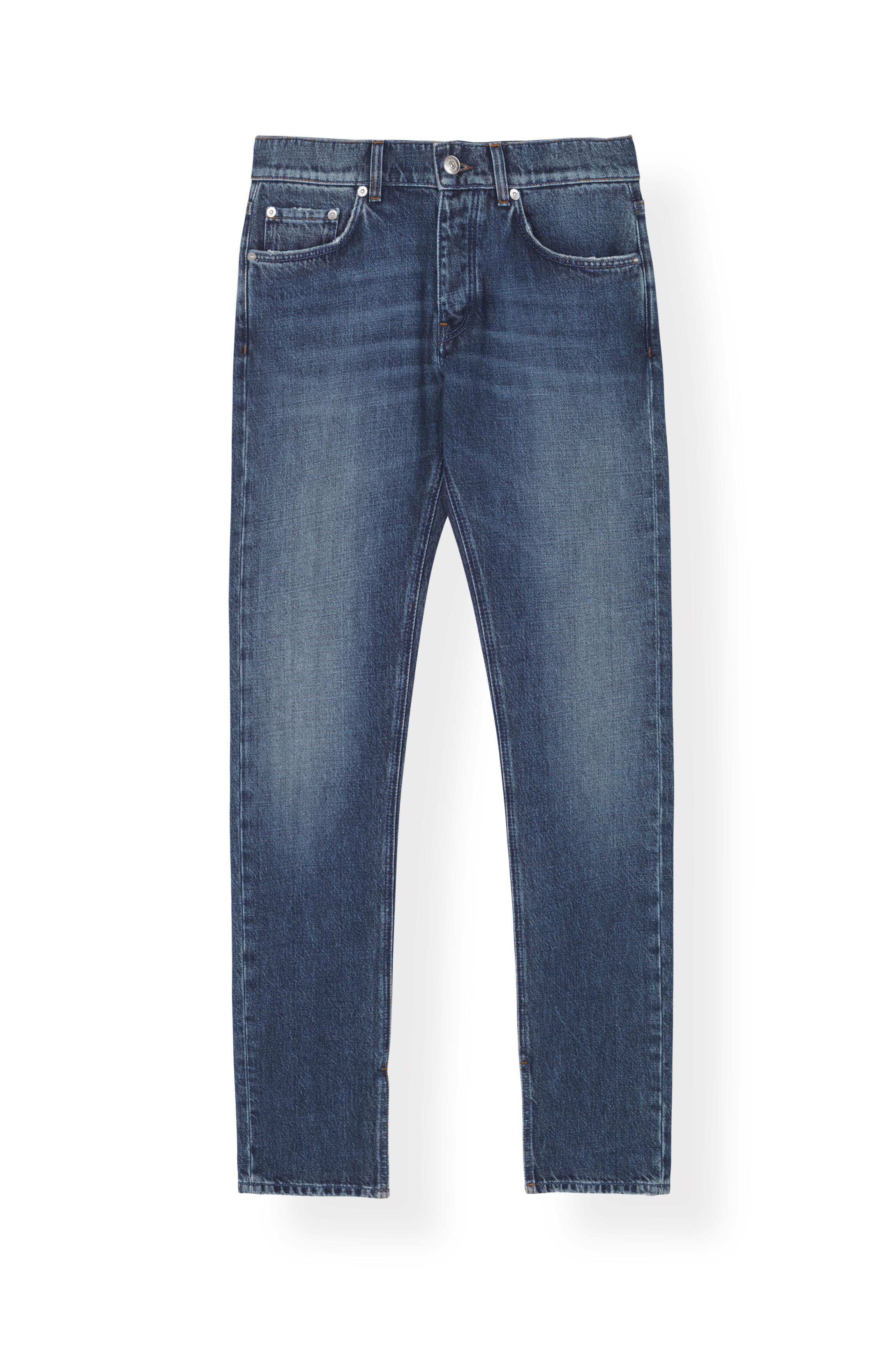 Image of   Ganni F3143 Slit Pants Washed Denim, 698 Medium Dark Denim
