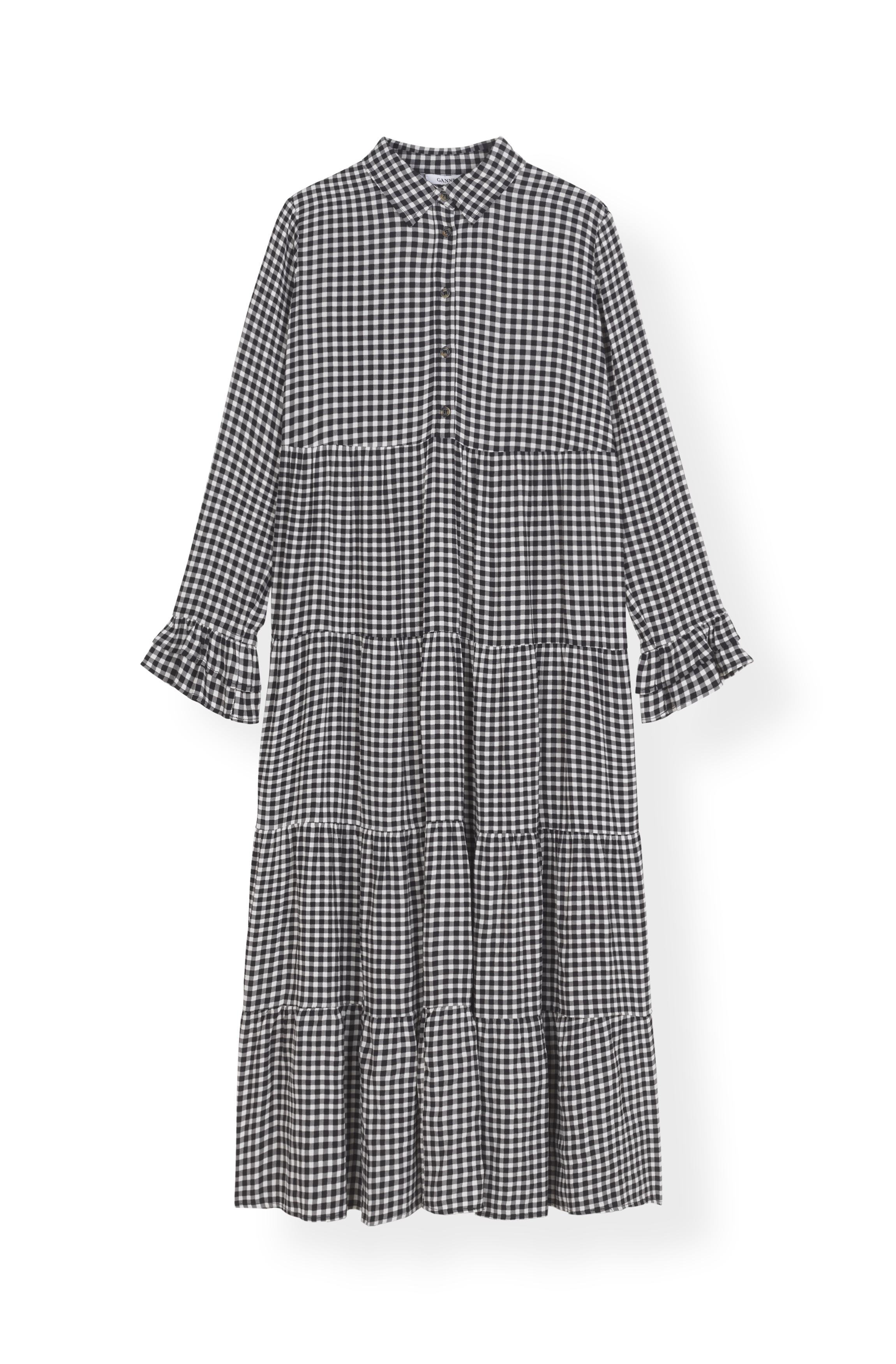 Image of   Ganni F3390 Layer Dress Printed Crepe, 099 Black