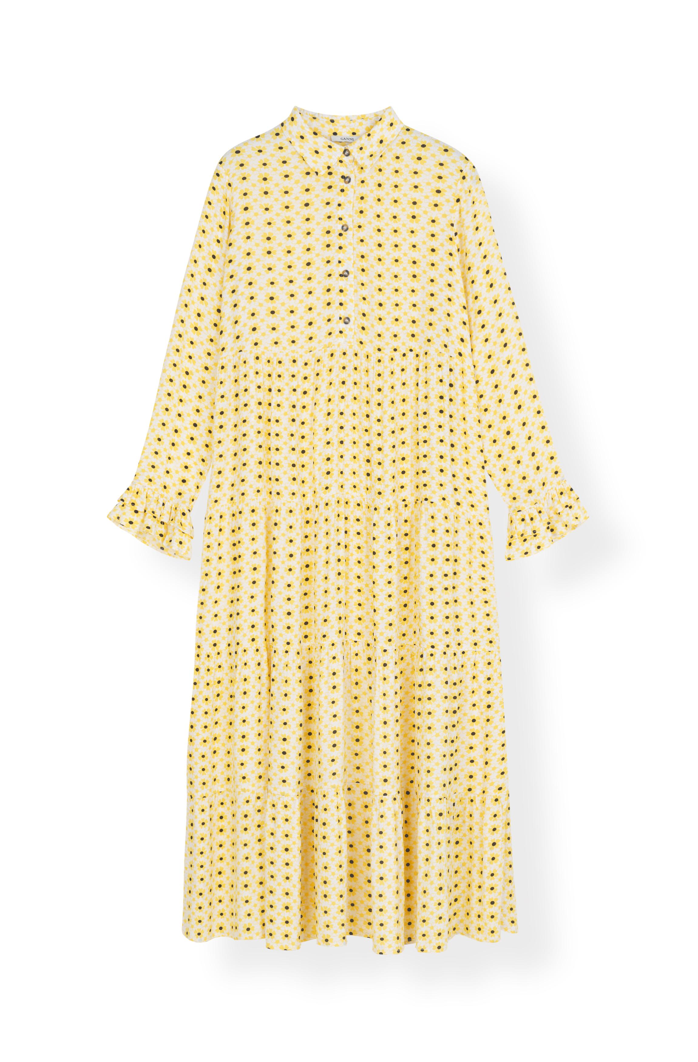 Image of   Ganni F3390 Layer Dress Printed Crepe, 242 Maize