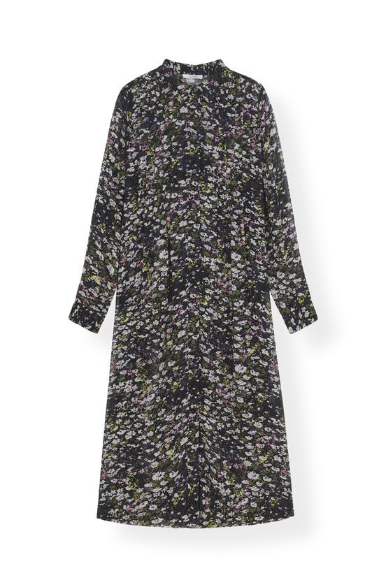 Image of   Ganni F3516 Shirt Dress Printed Georgette, 099 Black