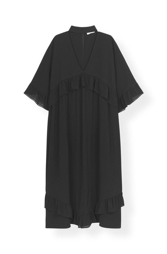 Image of   Ganni F3541 Maxi Dress Light Seersucker, 099 Black