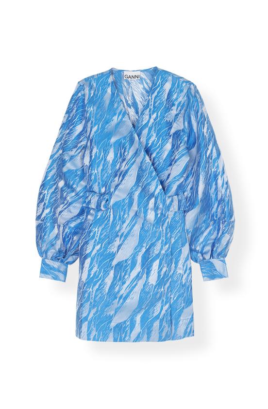Image of   Ganni Ganni Kjole F3966 Jaquard Azure Blue