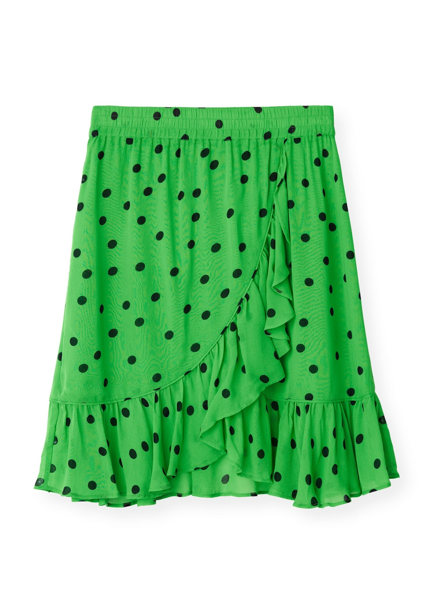 Image of   Ganni F2602 Mini Skirt Dainty Georgette, 777 Classic Green