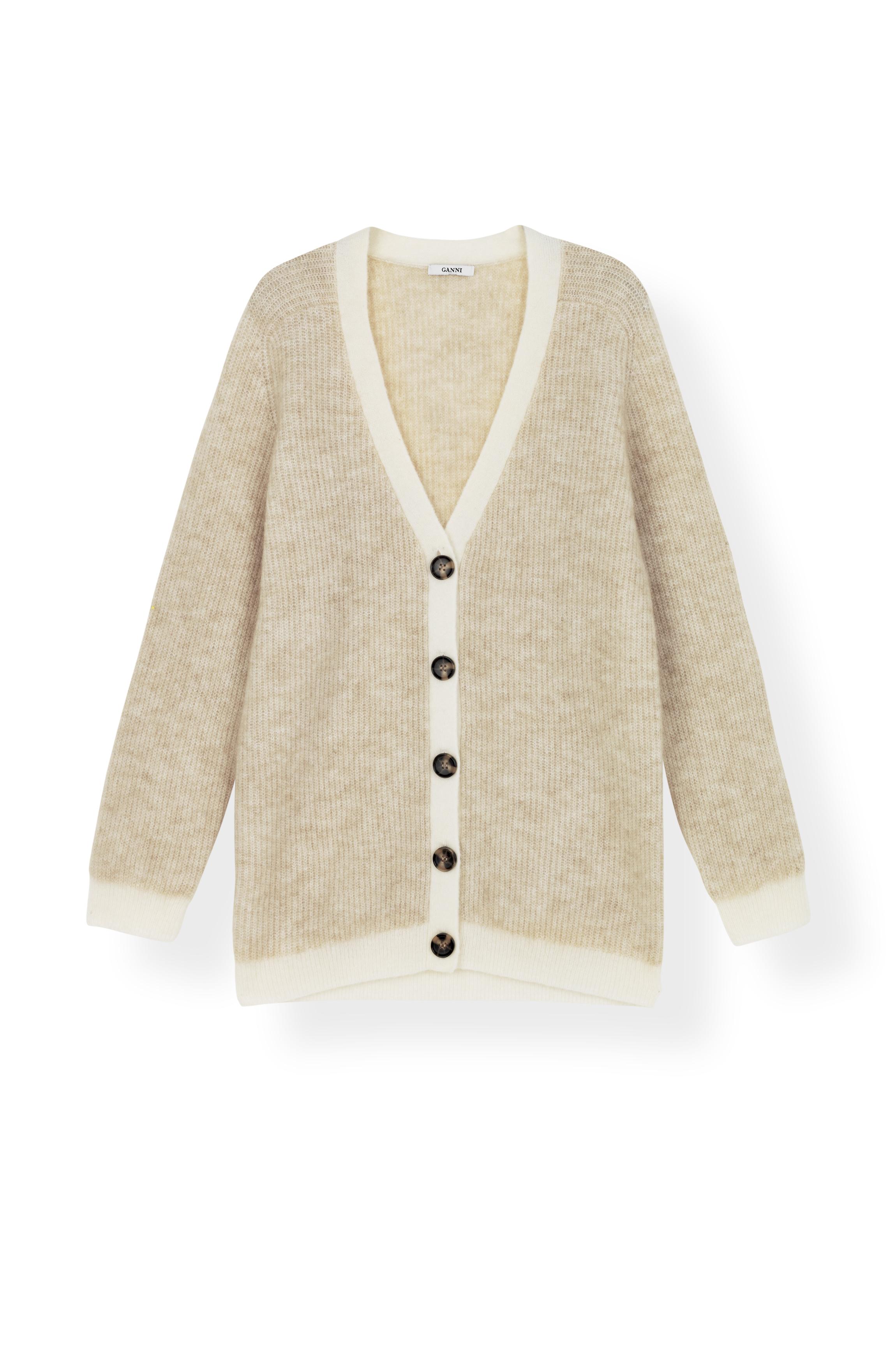 Ganni K1163 Cardigan Soft Wool Knit, 180 Tapioca