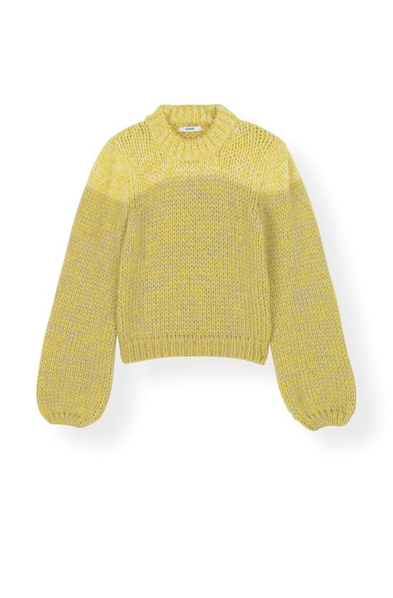 Image of   Ganni K1170 Knit Hand Knit Wool, 332 Minion Yellow
