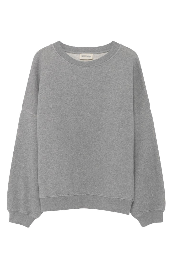 Image of American Vintage Kino78 Sweat Ml Col Rond, Gris Chine