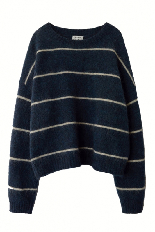 Image of   ACNE JEANS Rhira Mohair Knit, Navy/beige
