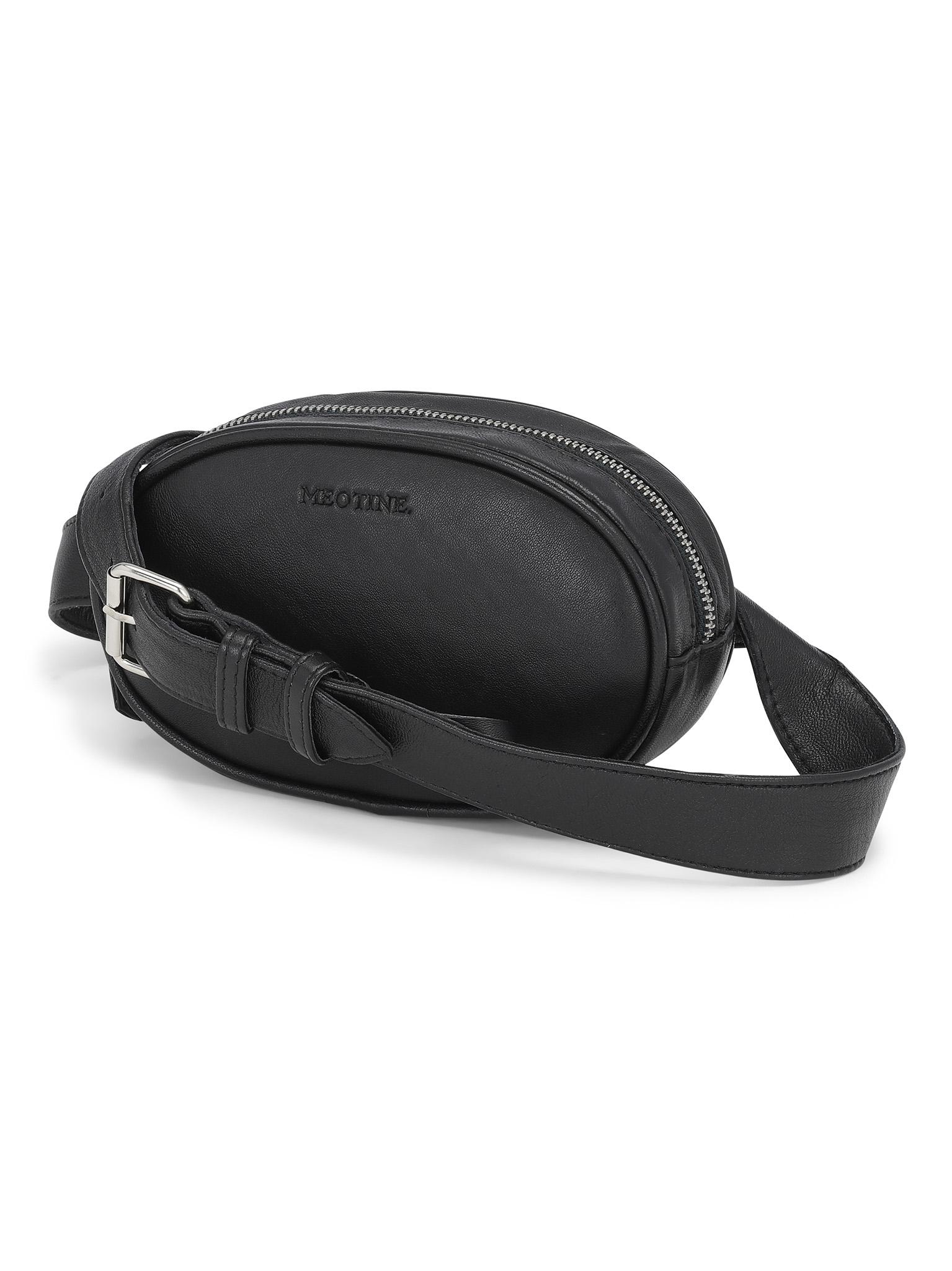 Meotine Leather Bum Bag, Black
