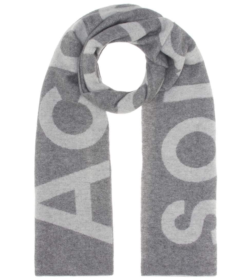 Image of   ACNE JEANS Toronty Logo Scarf, Grey