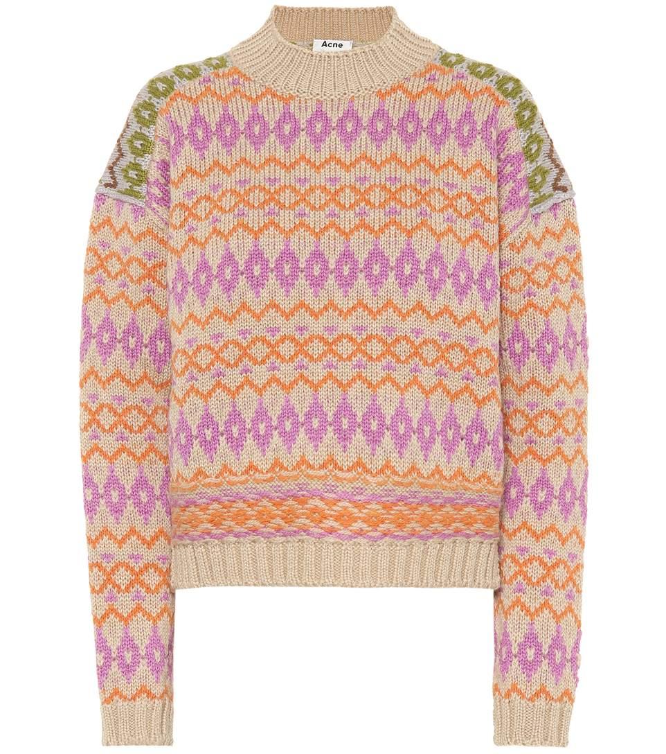Image of   ACNE JEANS Fn-wn-knit000003 Jq1 Jumper, Beige/pink