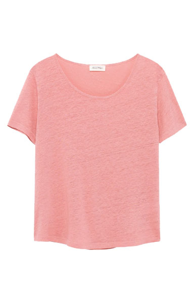 Image of American Vintage Lolo15 T-shirt Mc Col Rond, Rose