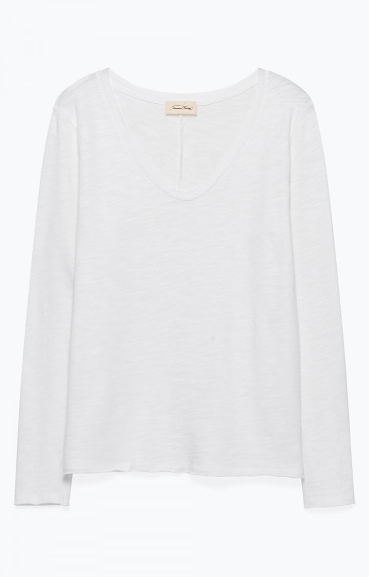 Image of American Vintage Son34 Tee-shirt Droit Ml Col V, Blanc