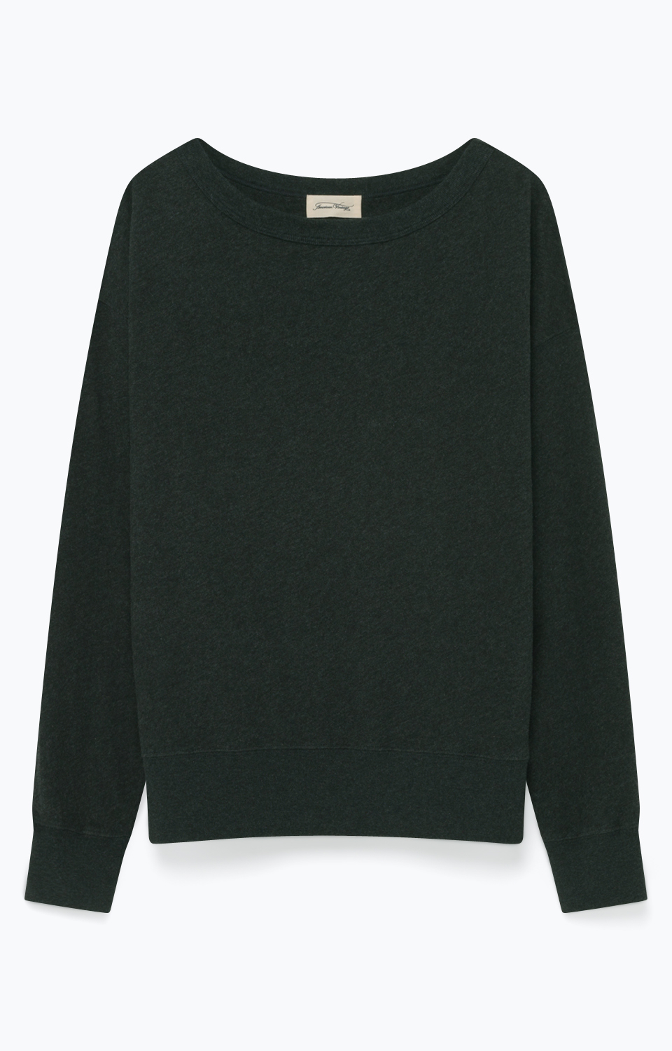 Image of   American Vintage Son35 Sweat Ml Col Bateau, Anthracite