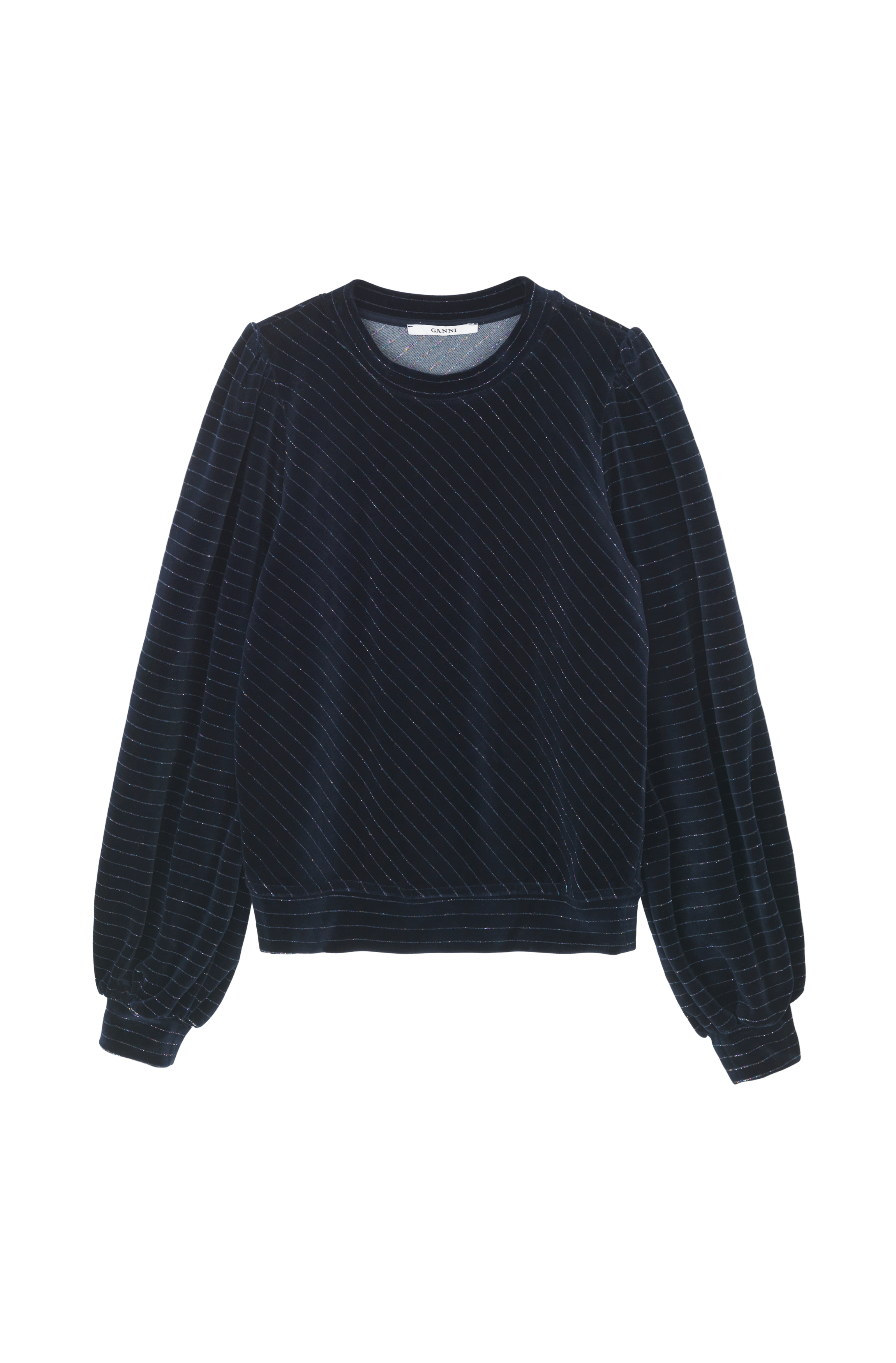 Ganni T2216 Sweat Puff Sweatshirt, 707 Total Eclipse