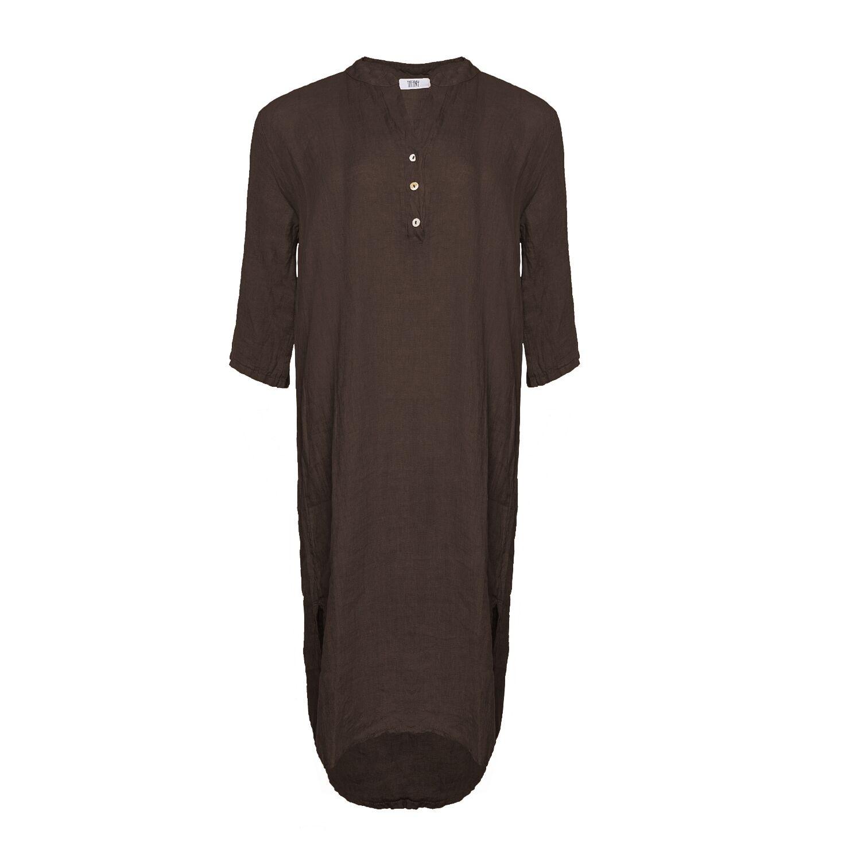 Image of   Tiffany 18970 X Long Shirt Dress Linen, Choko